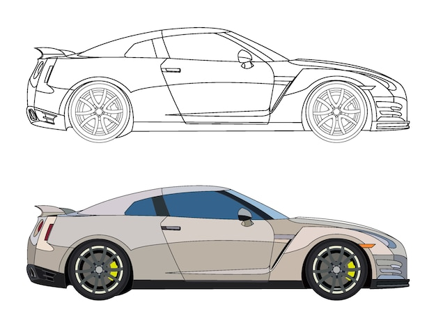 Lato dettagliato di auto sportiva color crema con opzione di corsa nera per un libro a colori personalizzabile