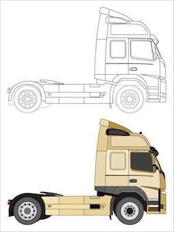 Lato dettagliato del camion crema con opzione tratto nero per libro a colori personalizzabile Vettore Premium