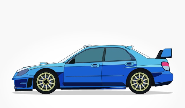 Lato dettagliato di un cartone animato piatto auto da corsa blu con effetto ombra