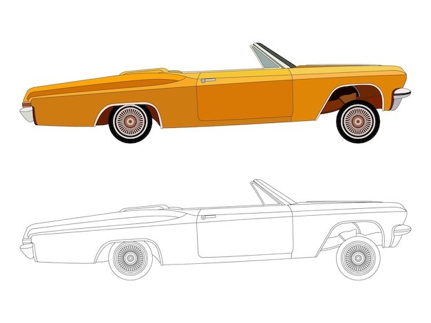 Lato dettagliato della berlina convertibile arancione con opzione tratto nero per il libro a colori personalizzabile
