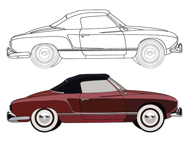 Lato dettagliato di auto berlina decappottabile rossa con opzione tratto nero per il libro di colore personalizzabile