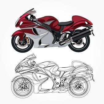 Lato dettagliato della moto sportiva rossa con pennellata nera per libro a colori personalizzabile