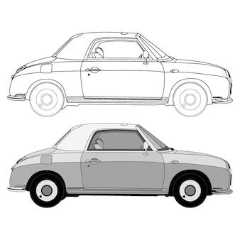 Lato dettagliato della berlina classica bianca con opzione di corsa nera per il libro a colori personalizzabile