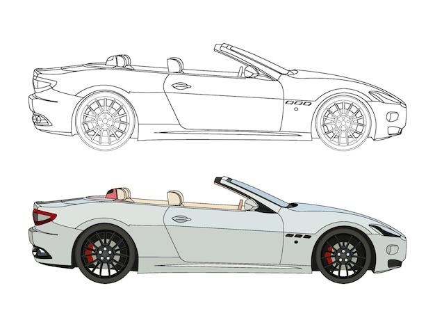 Lato dettagliato della berlina convertibile bianca con opzione di corsa nera per il libro a colori personalizzabile