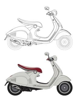 Lato dettagliato di una moto da scooter bianca con opzione tratto nero per il libro a colori personalizzabile