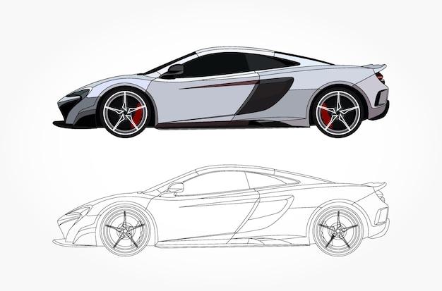 Lato dettagliato di un'auto sportiva bianca con opzione di corsa nera per il libro a colori personalizzabile