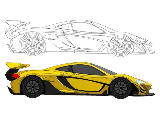 Lato dettagliato della vettura da corsa gialla con opzione tratto nero per il libro a colori personalizzabile