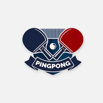 Concetto di logo di ping-pong dettagliato