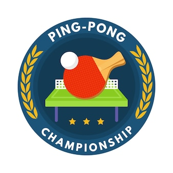 Logo dettagliato di ping pong con racchetta e palla
