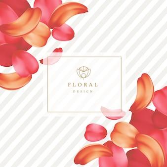 Petali teneri dettagliati di rose o sakura con una cornice