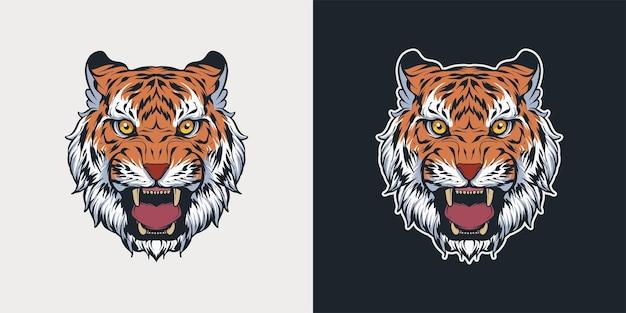 Illustrazione dettagliata della mascotte della testa della tigre