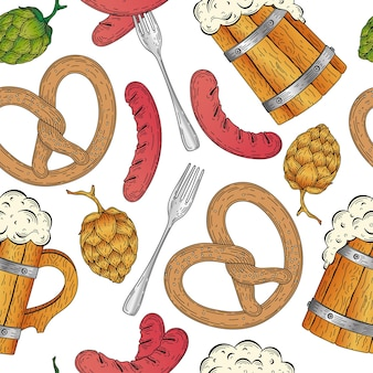Illustrazione vettoriale dettagliata con salsiccia alla griglia luppolo in legno boccale di birra pretzel beer festival