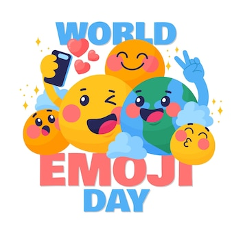 Illustrazione dettagliata della giornata mondiale degli emoji