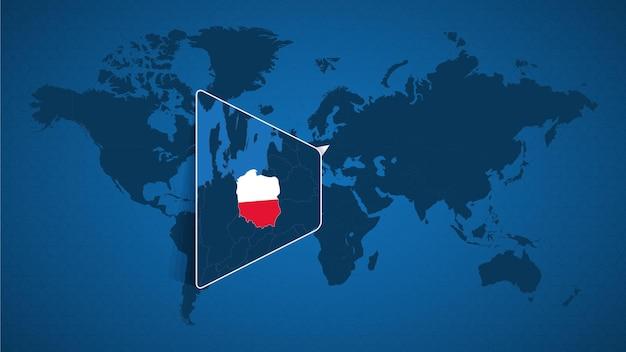 Mappa del mondo dettagliata con mappa ingrandita appuntata della polonia e dei paesi limitrofi. bandiera e mappa della polonia.