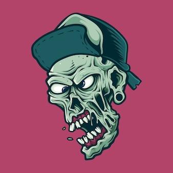 Zombie dettagliate che indossa cappello testa isolata sul rosa