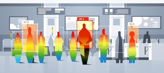 Rilevamento della temperatura corporea elevata dei passeggeri della metropolitana controllo tramite telecamera termica ai senza contatto arresta il concetto di focolaio di coronavirus illustrazione vettoriale orizzontale