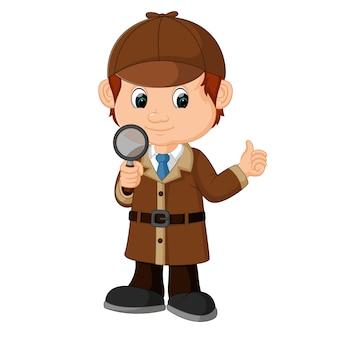 Detective boy cartone animato con lente di ingrandimento