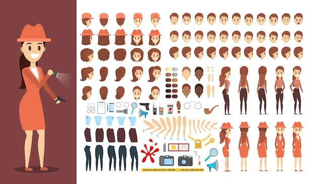 Set di caratteri detective per l'animazione con varie visualizzazioni