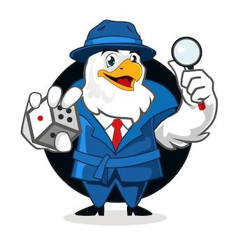 Cartone animato mascotte aquila detective in vettoriale