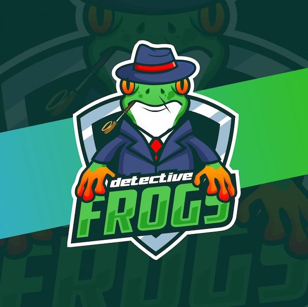 Detective rana mascotte logo design