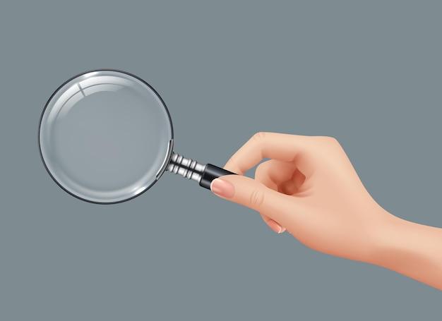 Detective holding gadget ingrandito lente di ingrandimento immagini realistiche isolate.