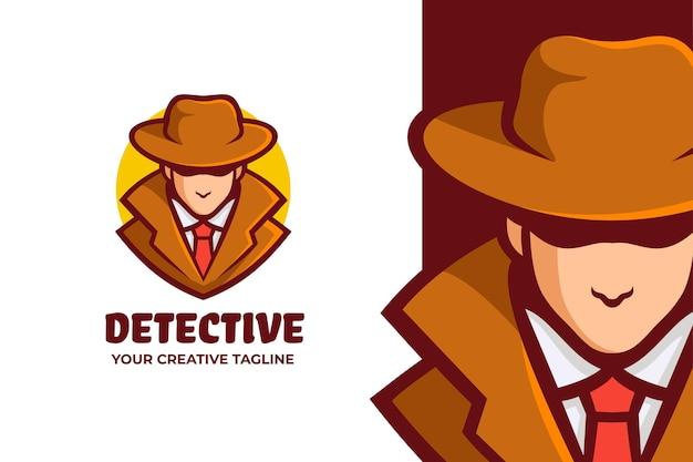 Logo della mascotte dell'uomo misterioso detective