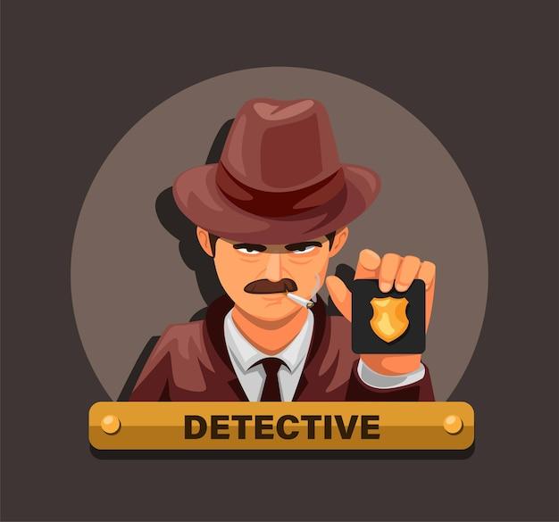 Detective che mostra il distintivo della polizia. concetto di carattere agente investigativo caso criminale in cartone animato