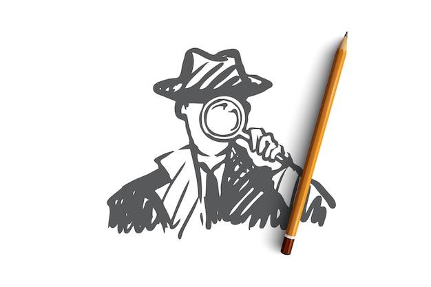 Detective arma lente d'ingrandimento ispettore poliziotto detective con una lente d'ingrandimento