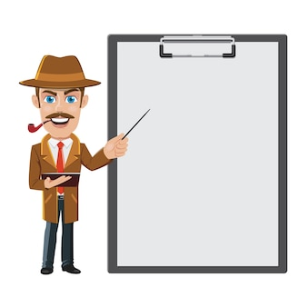 Detective con un grande blocco per appunti e carta bianca