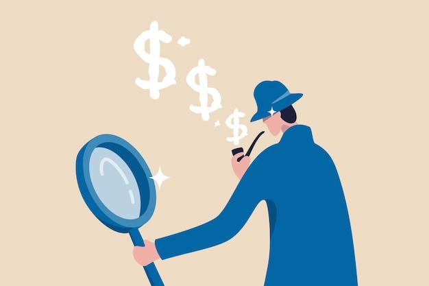 Detective con lente d'ingrandimento tubo di fumo con il segno del dollaro fumo