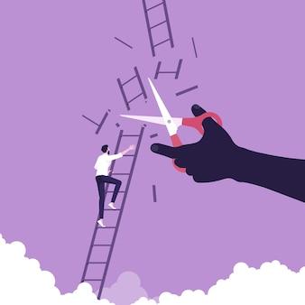 Determinato uomo d'affari che sale la scala mentre taglia a mano la strada elimina il rivale in affari