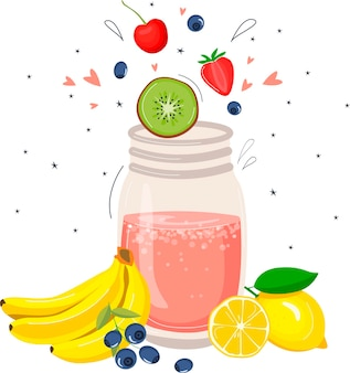 Frullato di frutta disintossicante. illustrazione in stile cartone animato.