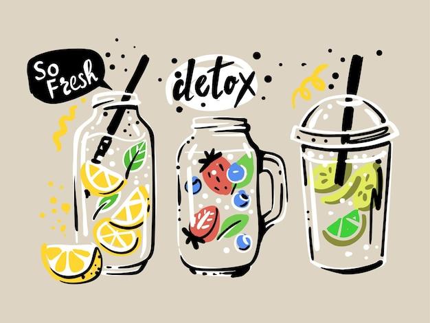 Acqua detox con fette di frutta e bacche.