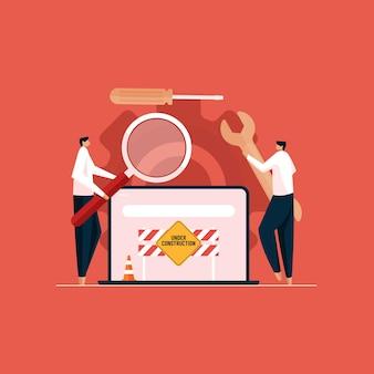 Team di sviluppatori che sviluppa e mantiene il sito web risolvere il concetto di errori e bug