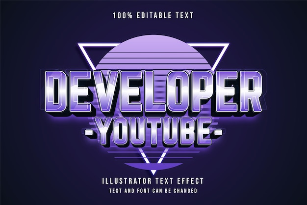 Sviluppatore youtube, 3d testo modificabile effetto blu gradazione viola neon stile testo