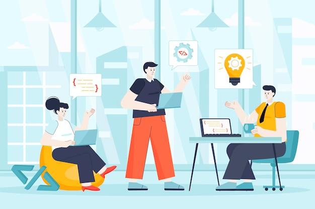 Concetto di squadra di sviluppatori in design piatto