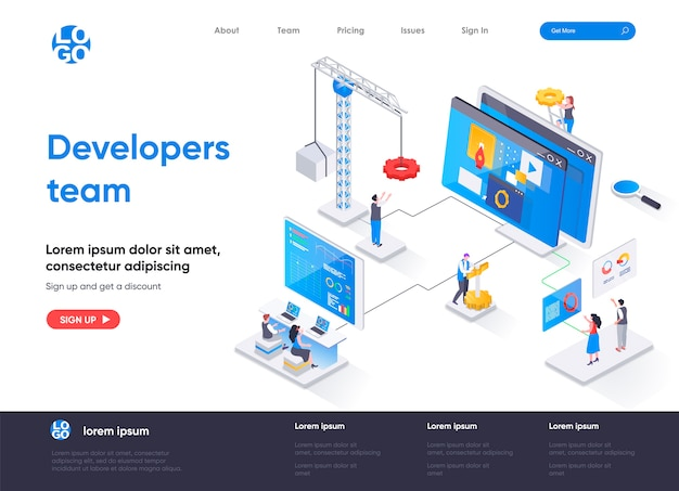 Pagina di destinazione isometrica del team di sviluppatori