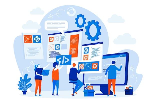 Web design del team di sviluppatori con illustrazione di personaggi di persone