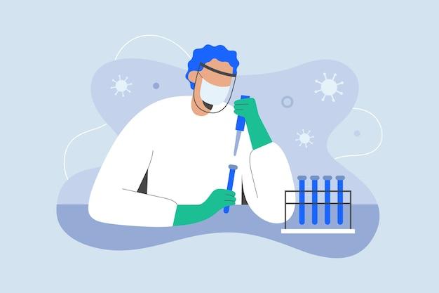 Sviluppo del vaccino contro il coronavirus scienziato che lavora sul farmaco contro il covid