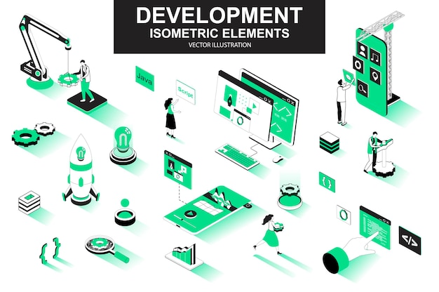 Elementi di linea isometrica 3d di società di sviluppo