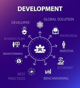 Modello di concetto di sviluppo. stile di design moderno. contiene icone come soluzione globale, conoscenza, investitore, brainstorming