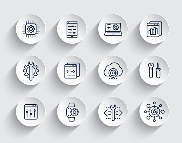 Sviluppo, configurazione, ingegneria, impostazioni, set di icone della linea di servizio di riparazione