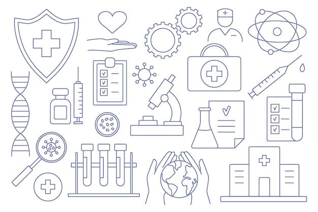 Sviluppo e creazione di vaccini. ricerca clinica, anticorpi, laboratorio, sistema immunitario, trattamento, siringa. vaccini alla prova. icone di linea del vettore. tratto modificabile. elementi di materie mediche.