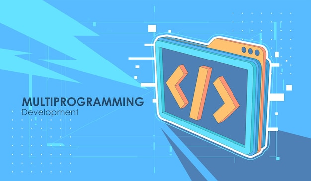 Banner di sviluppo e software. concetto di programmazione, elaborazione dati
