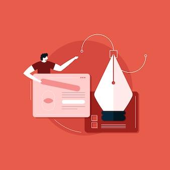 E soluzione di sviluppo, grafica, illustrazione responsive web concept