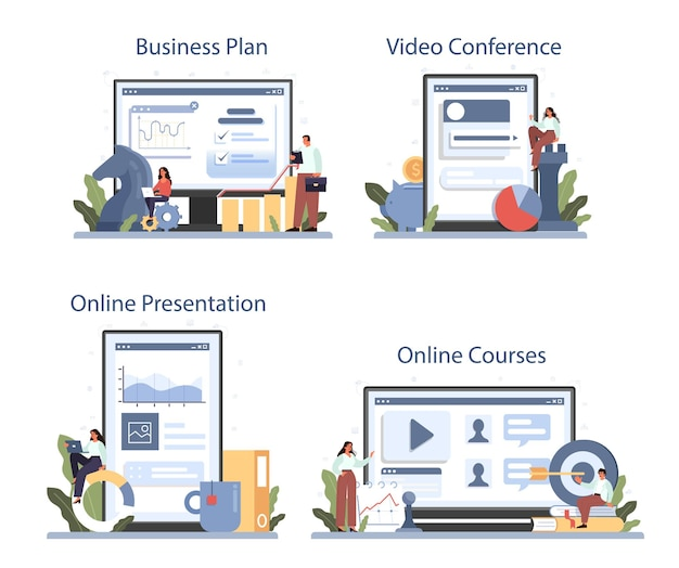 Servizio online di strategia di sviluppo o set di piattaforme. pianificazione aziendale. idea di promozione aziendale. corso online, presentazione, videoconferenza, business plan. illustrazione piatta isolata
