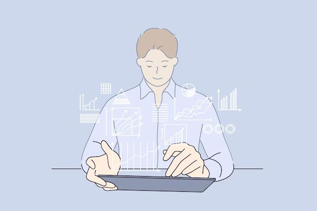 Concetto di analisi aziendale di lavoro di strategia di sviluppo
