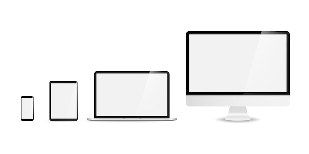 Dispositivi in un design alla moda realistico su bianco