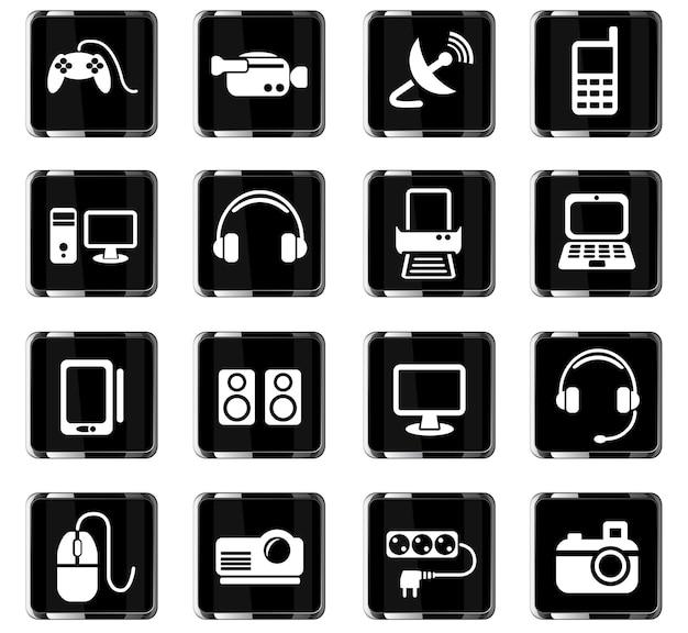 Icone web dei dispositivi per la progettazione dell'interfaccia utente