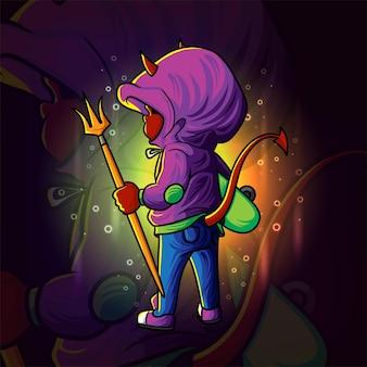 Il ragazzo diavolo con il tridente esport logo design dell'illustrazione